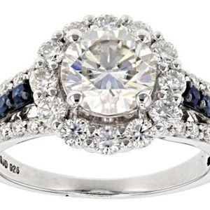 Jewelry - Moissanite And Blue Sapphire Platineve Ring 3.02ct